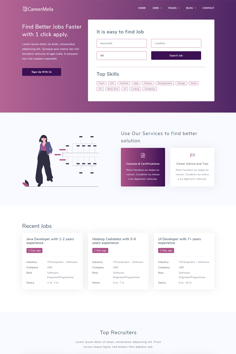 Careermela - Job portal Website Template