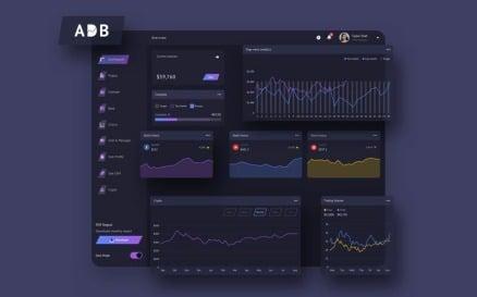 ADB Finance Dashboard Ui Dark Sketch Template