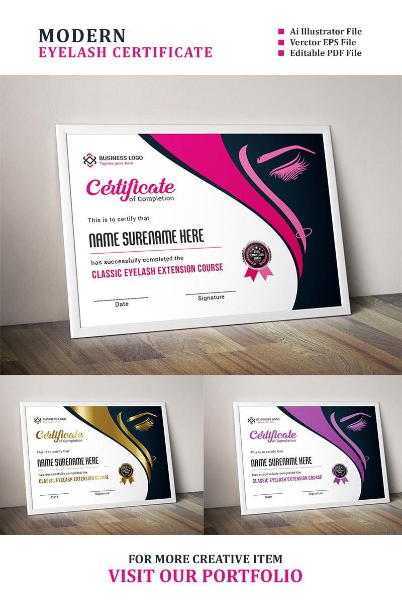 Eyelash Extension Certificate Template