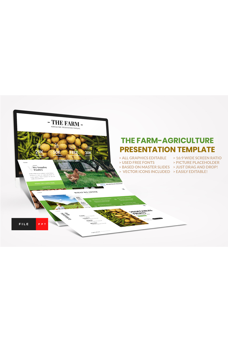 Farm - Agriculture PowerPoint sablon 92308