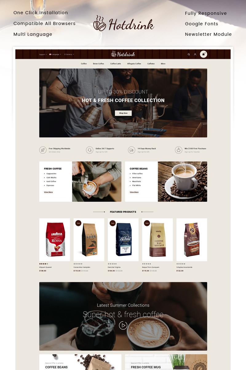 """""""Hotdrink - Coffee Store"""" thème OpenCart adaptatif #92353"""