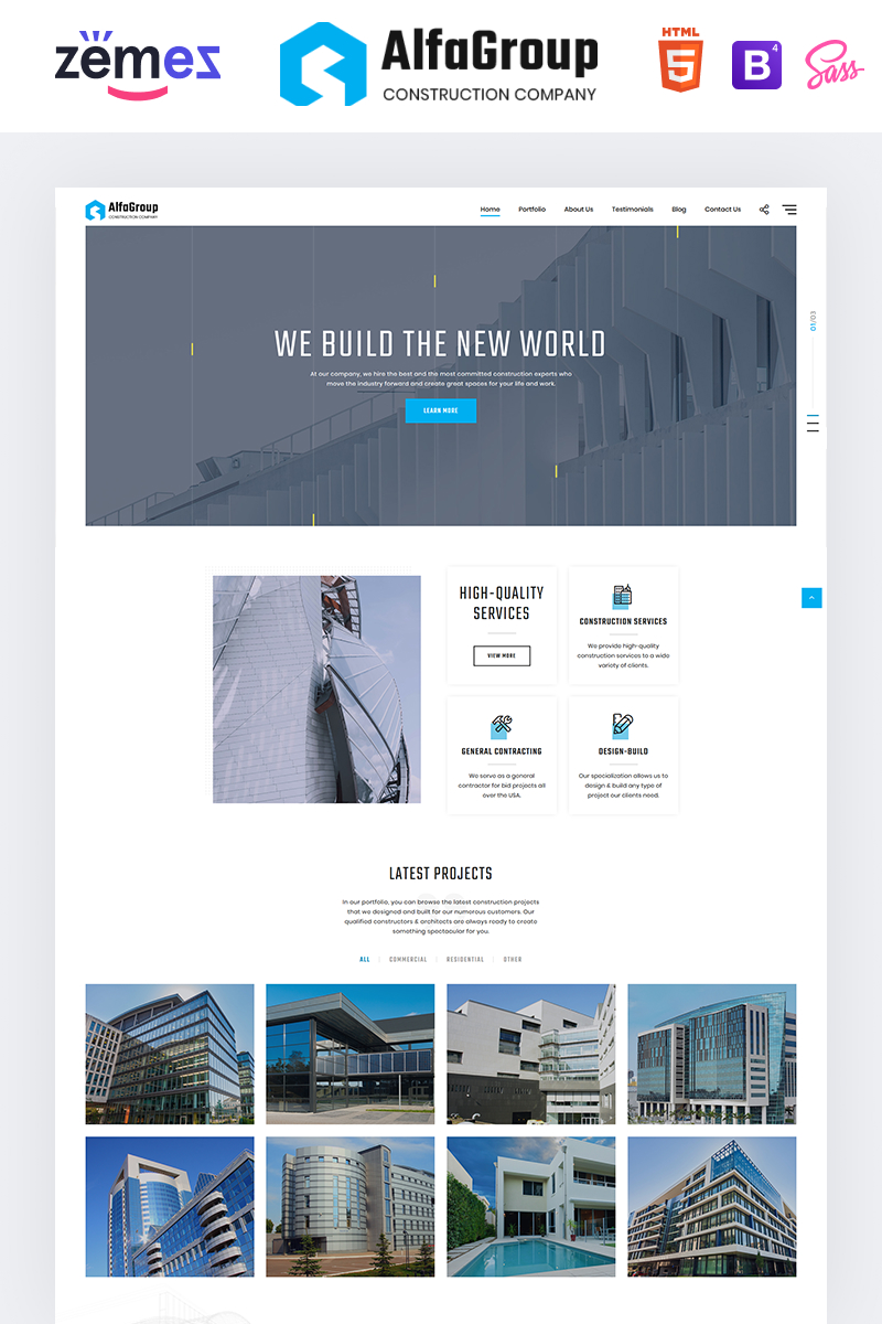 "Landing Page Template namens ""AlfaGroup - Construction Business"" #92320"