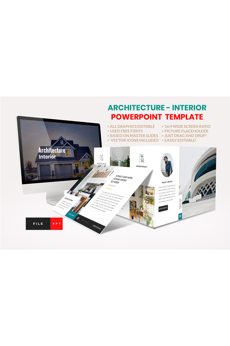 "PowerPoint Vorlage namens ""Architecture - Interior"" #92309"