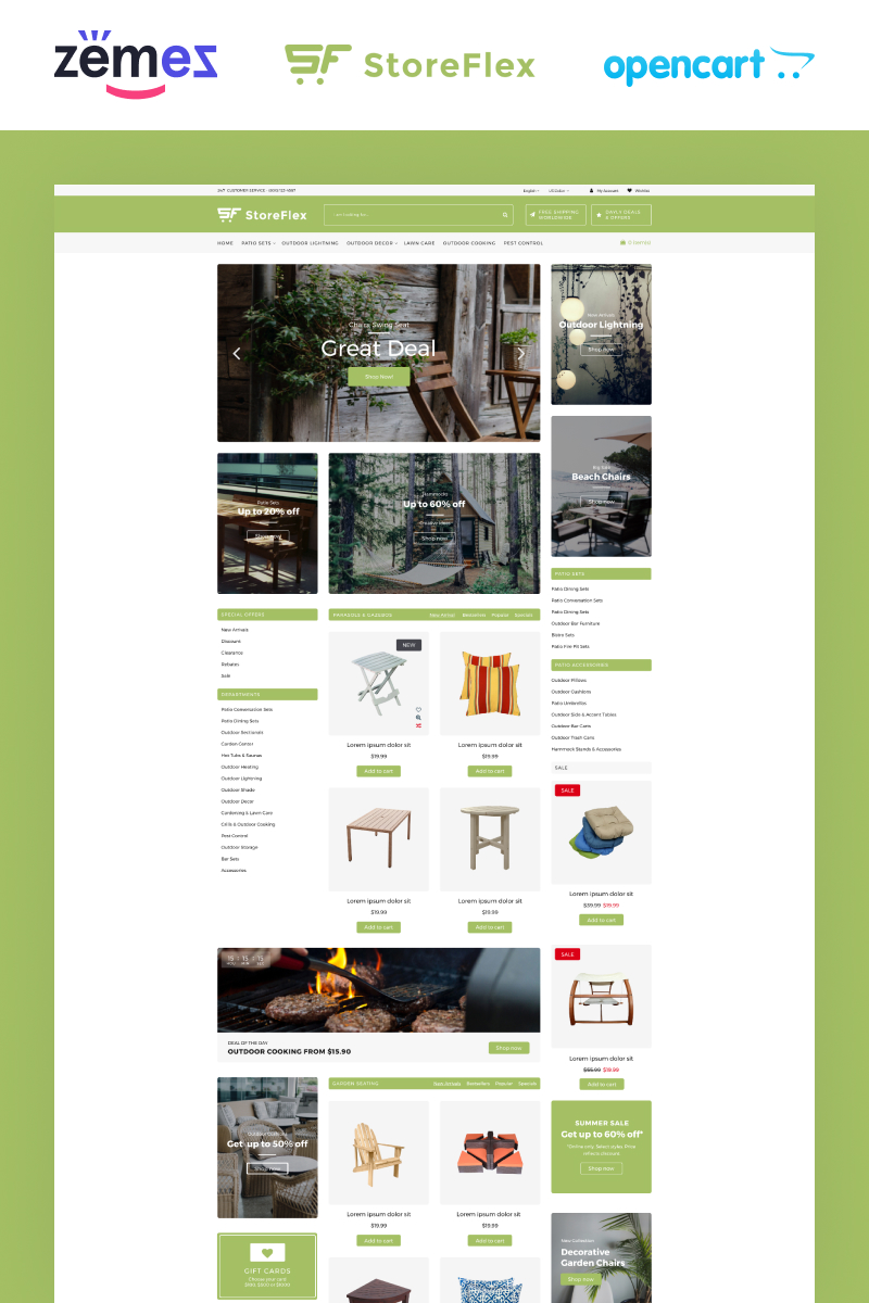 Responsywny szablon OpenCart StoreFlex Garden Store Template #92322