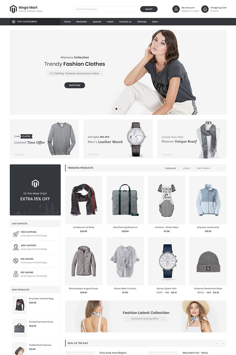 "Tema De PrestaShop ""Mega Mart - Fashion Store Multi-Purpose Responsive"" #92354"
