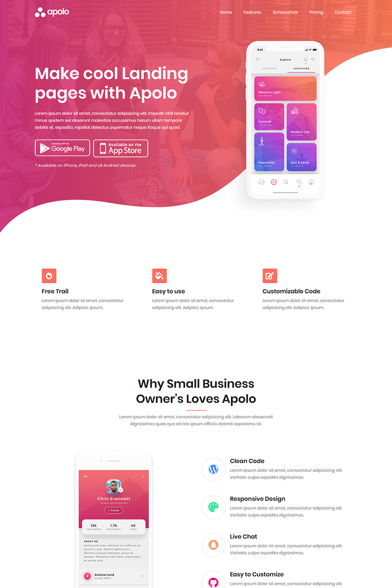 Apolo - App Landing Page Template