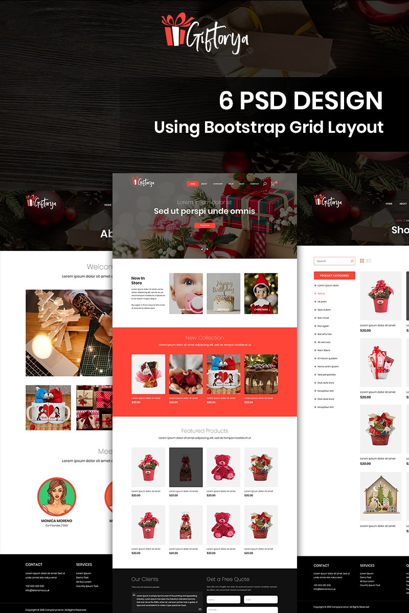 Giftorya - Gift Store PSD Template - screenshot