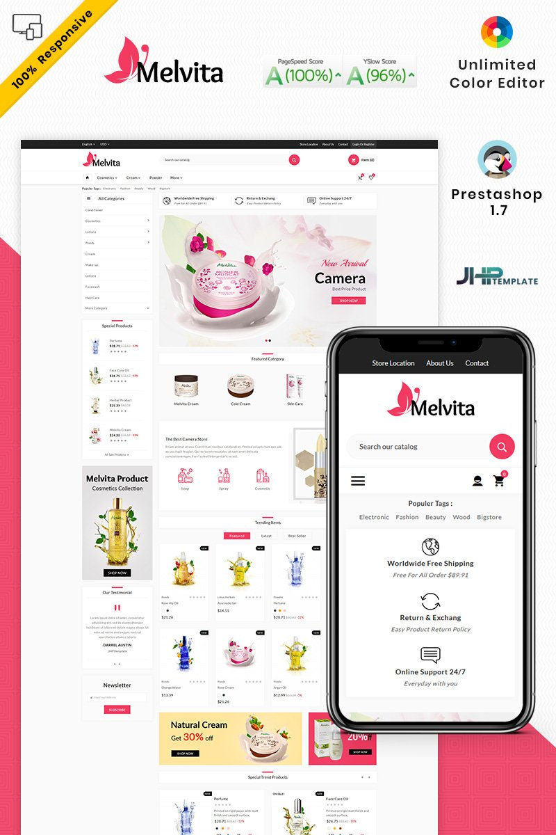 """Melvita Cosmetic Super Market"" - адаптивний PrestaShop шаблон №92512"