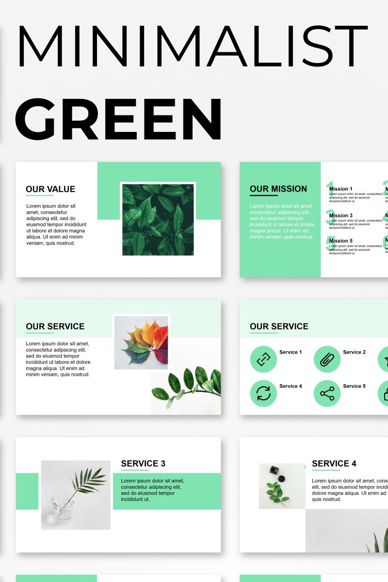 """Minimalist Green Presentation"" modèle PowerPoint  #92566"
