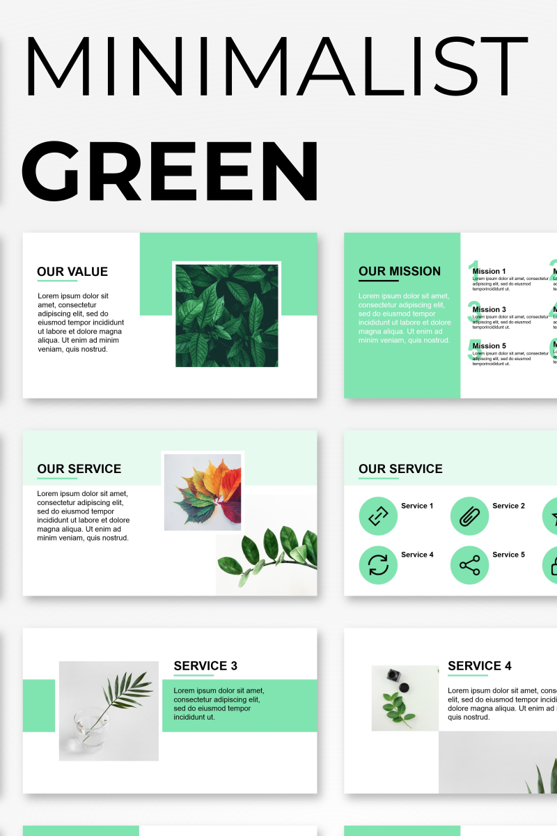 Minimalist Green Presentation PowerPoint sablon 92566
