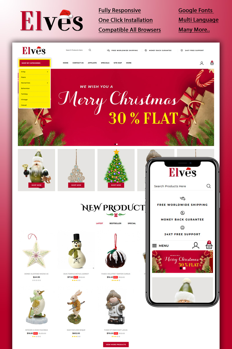 "Responzivní OpenCart šablona ""Elves - Christmas Store"" #92509"
