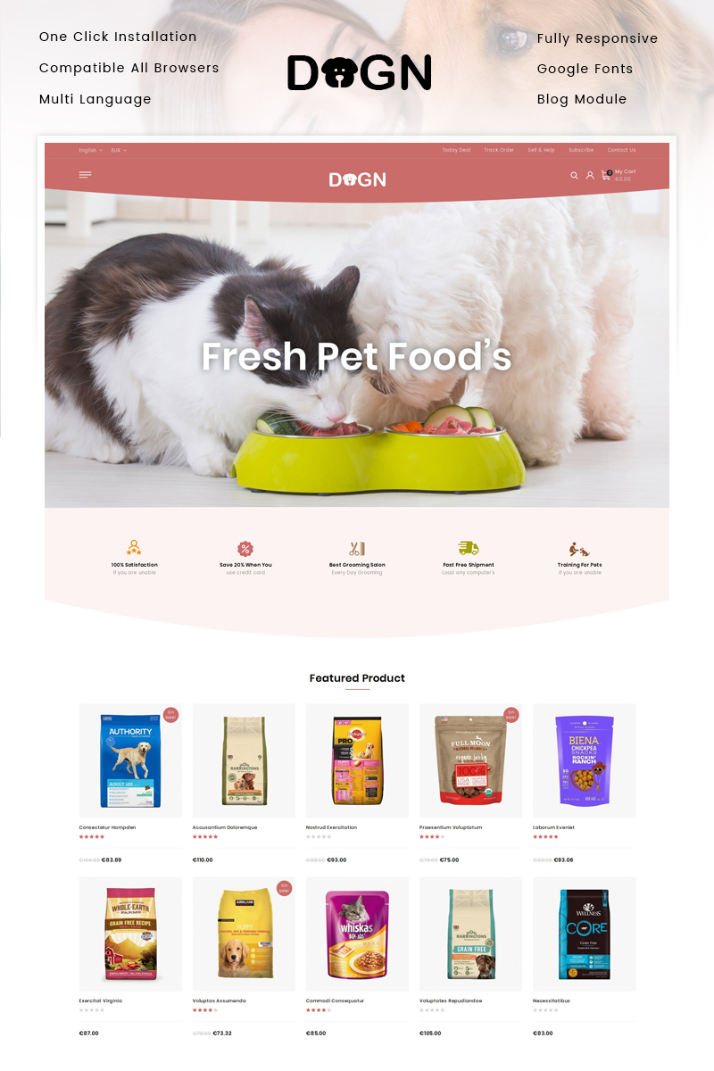Reszponzív Dogn - Pet's Food Store PrestaShop sablon 92537