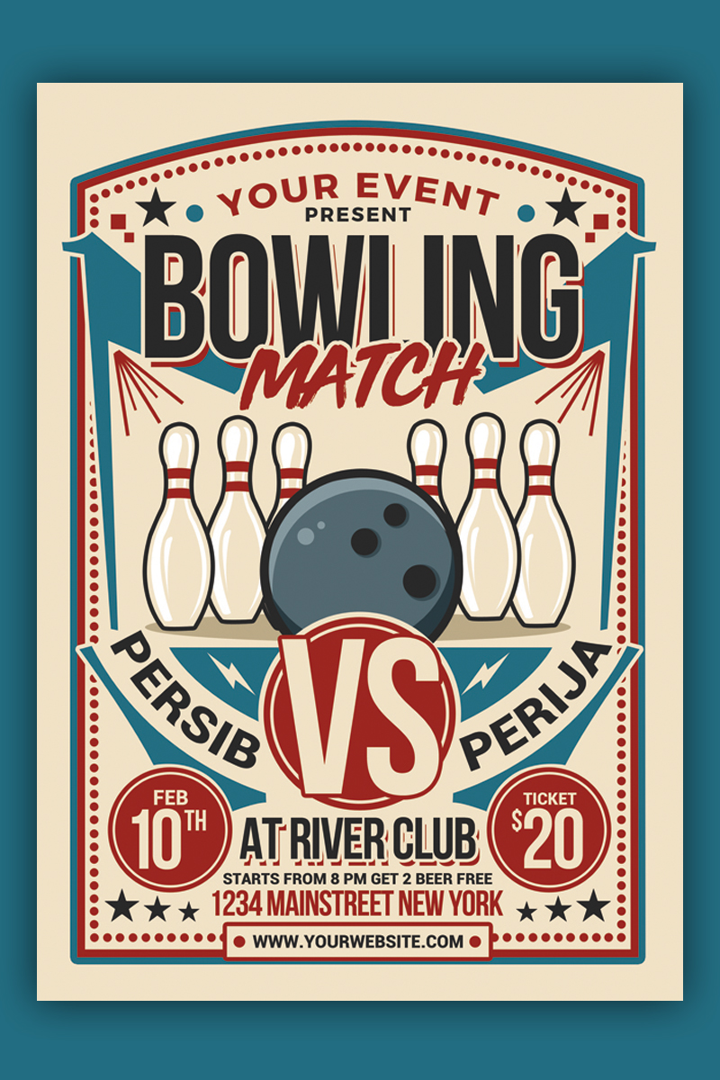 Retro Bowling Match Flyer Corporate Identity Template