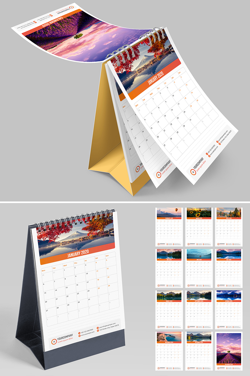Vertical Desk Calendar 2020 Layout Planner