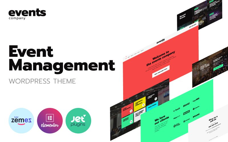 """""""Events company - Innovative Template For Event Management Website"""" Responsive WordPress thema №92613"""