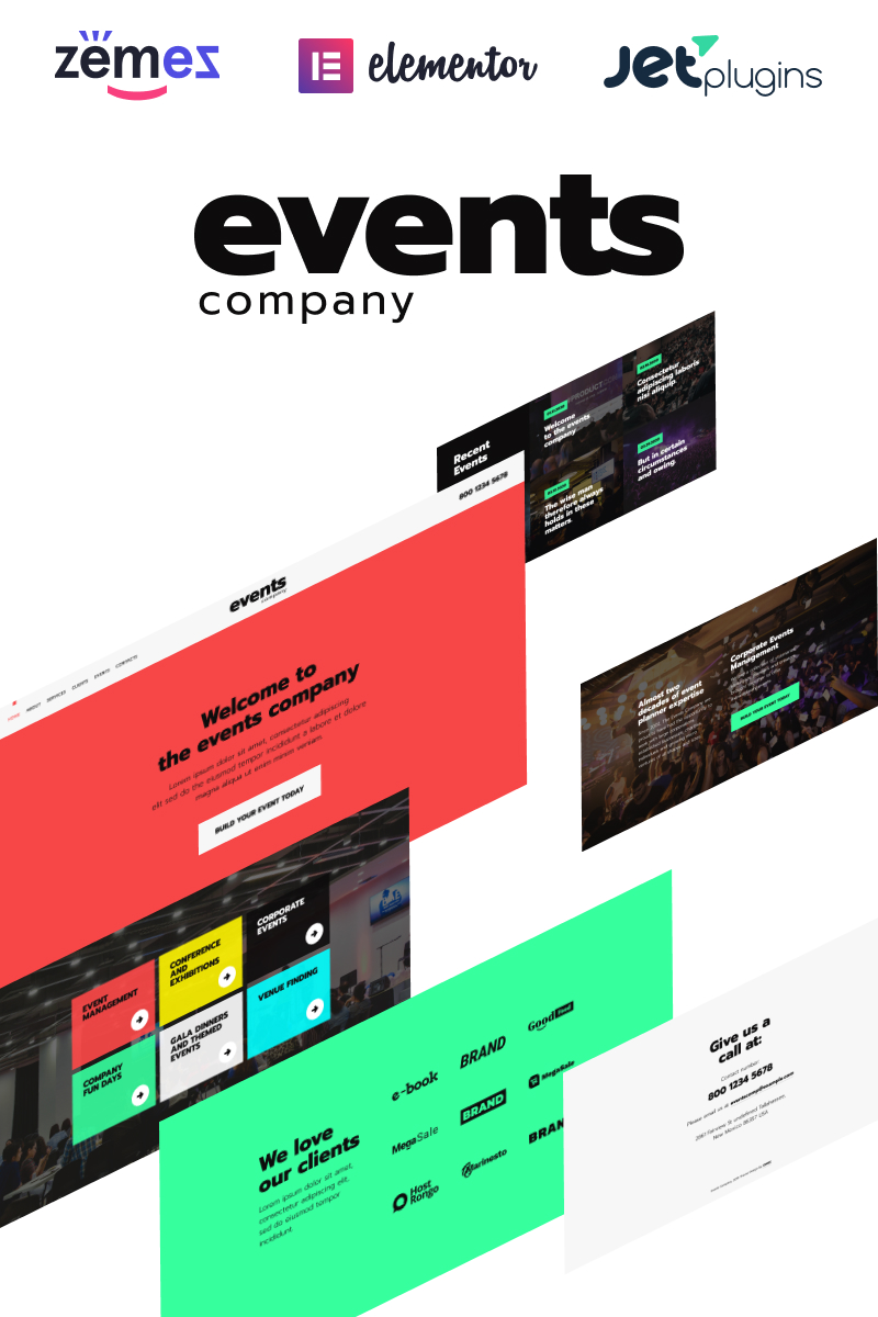 """""""Events company - Innovative Template For Event Management Website"""" 响应式WordPress模板 #92613 - 截图"""