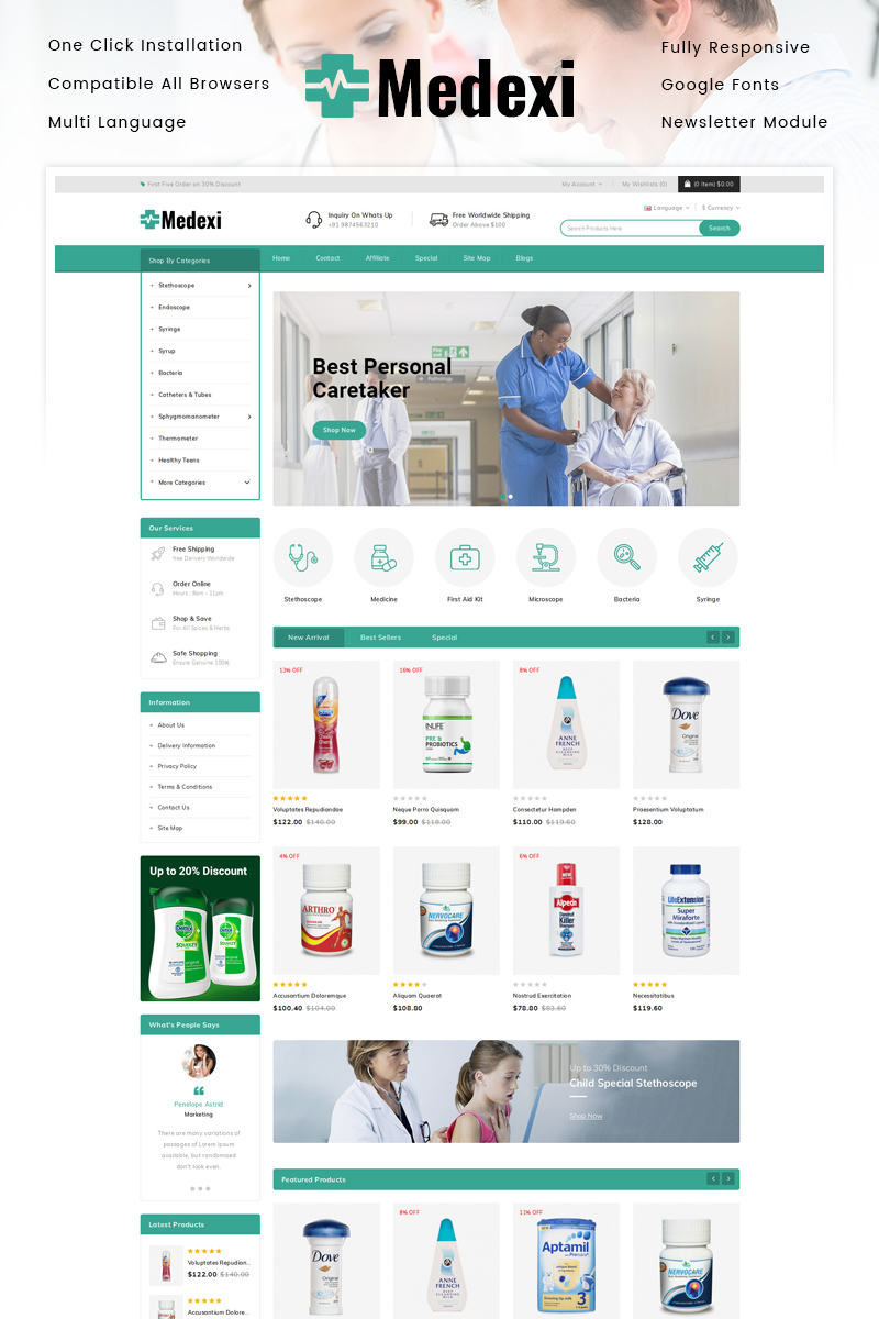 """Medexi - Medical Store"" Responsive OpenCart Template №92636"