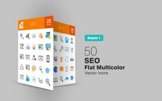 50 SEO Flat Multicolor Icon Set