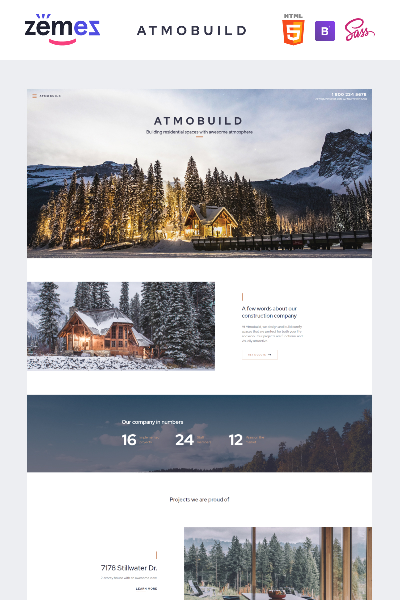 "Website Vorlage namens ""Atmobuild - Construction Business"" #92633 - Screenshot"