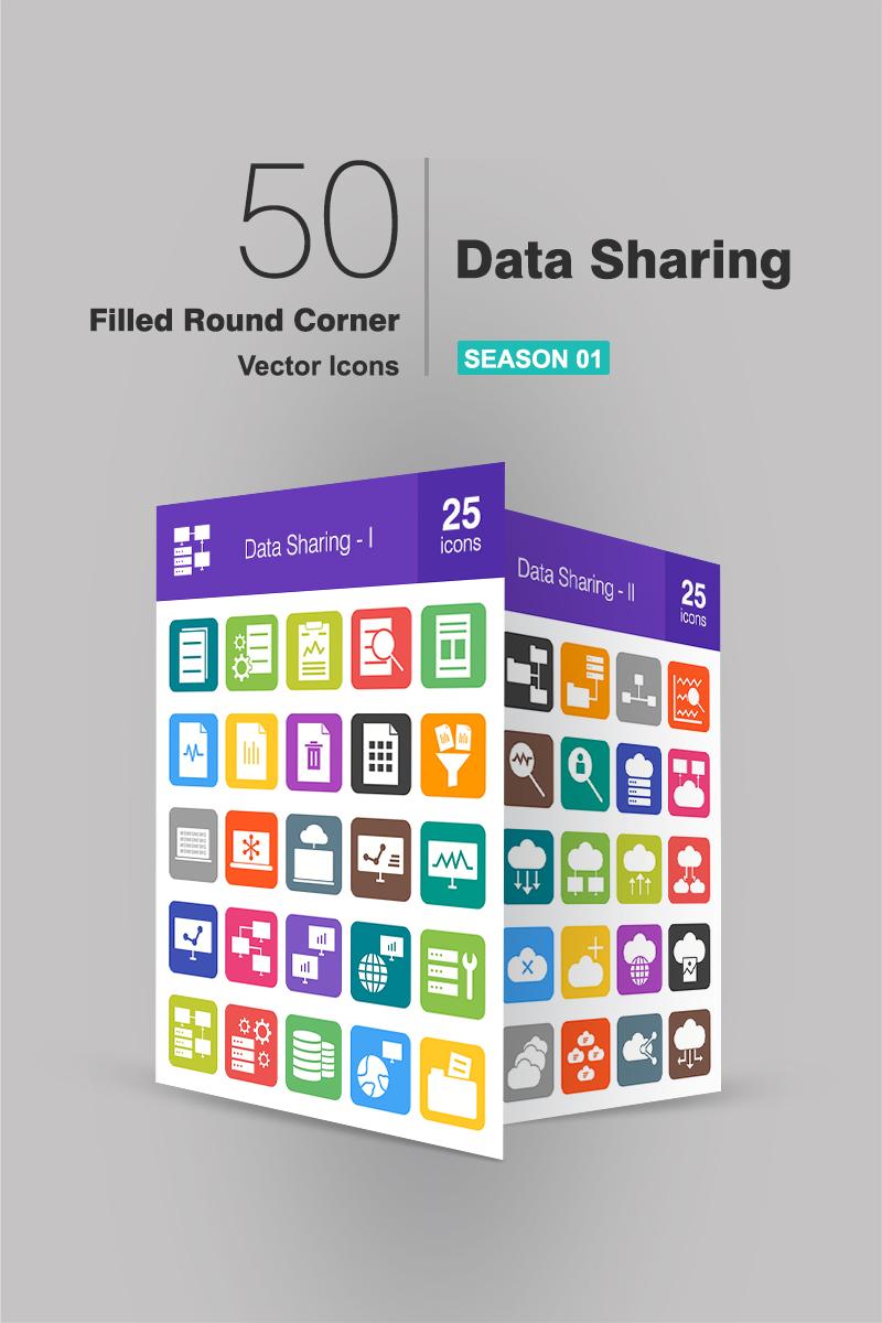 50 Data Sharing Filled Round Corner Iconset Template - screenshot