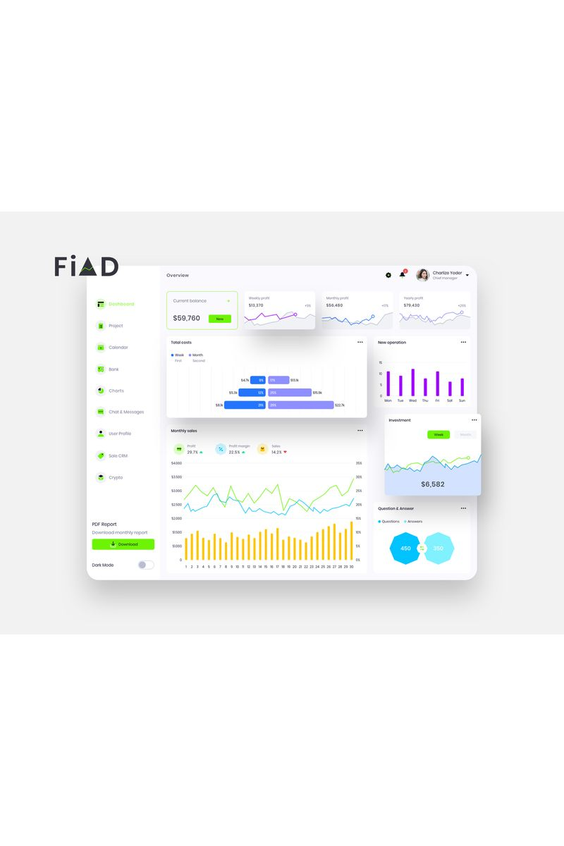FiAD Finance Dashboard Ui Light Sketch Template