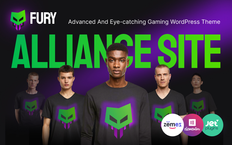 """Fury - Advanced And Eye-catching Gaming"" Responsive WordPress thema №92793"