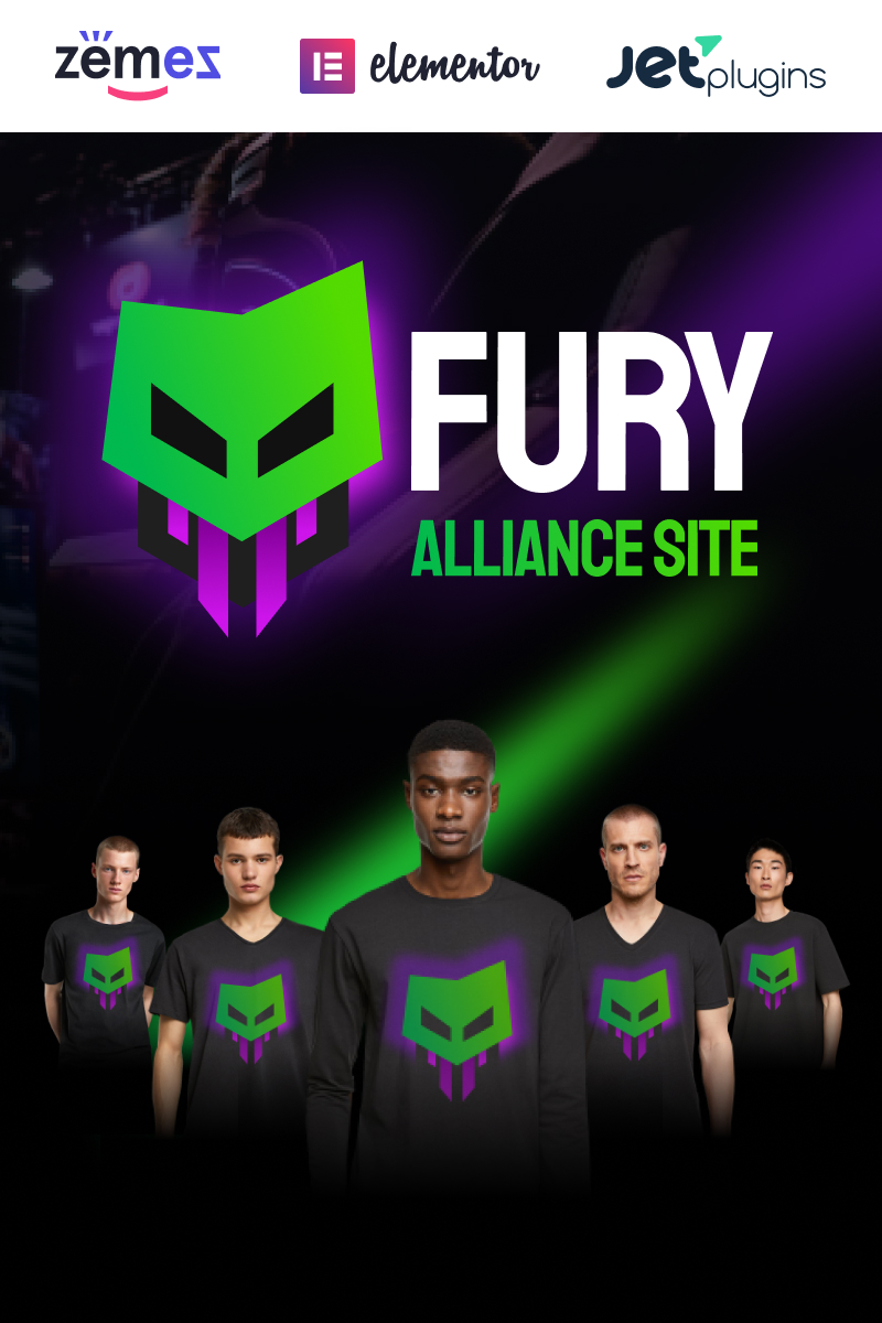 """Fury - Advanced And Eye-catching Gaming"" 响应式WordPress模板 #92793"