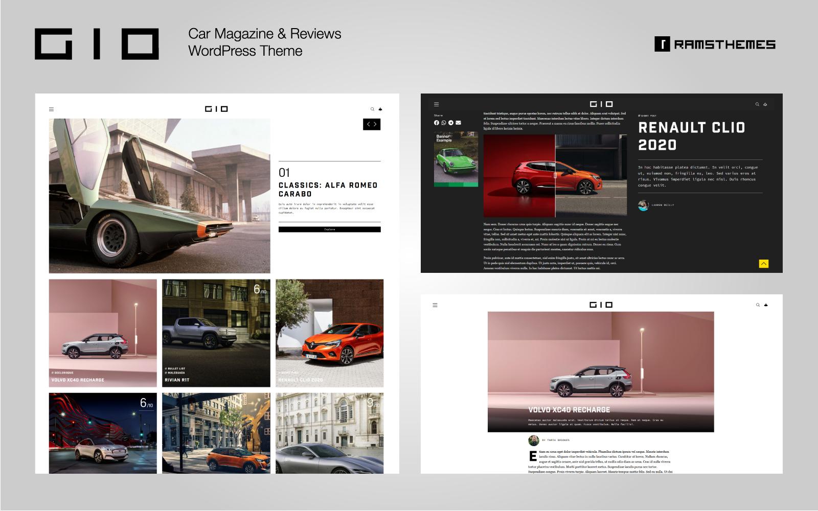 """GIO - Car Magazine"" thème WordPress adaptatif #92771"