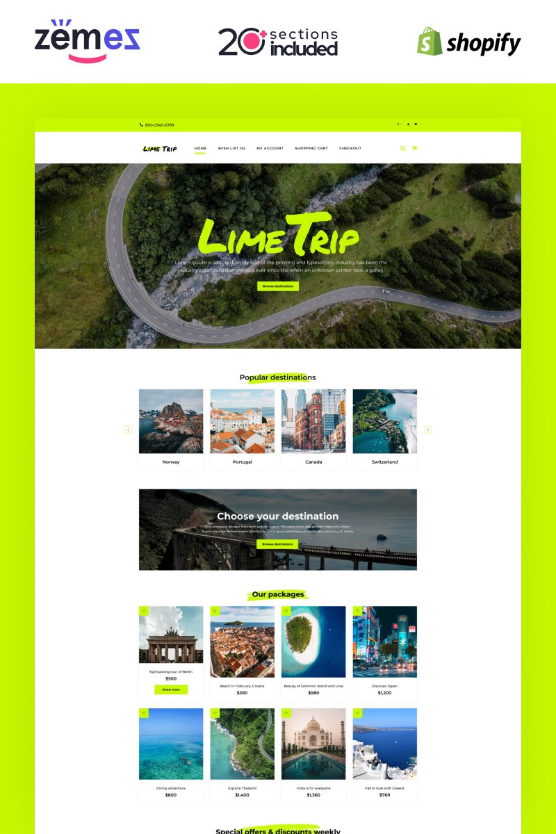 """Shopify Tour Booking Theme with Advanced Website Builder"" Responsive Shopify Thema №92708"