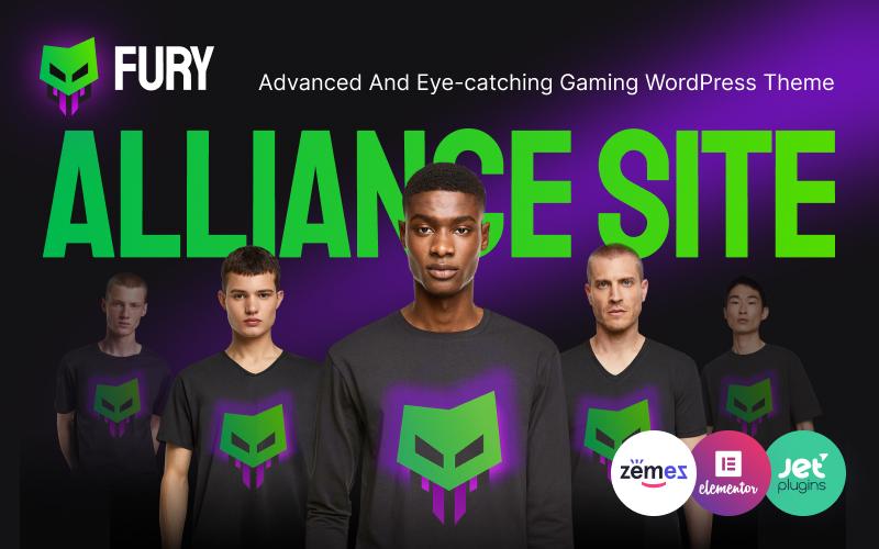"Tema WordPress Responsive #92793 ""Fury - Advanced And Eye-catching Gaming"""