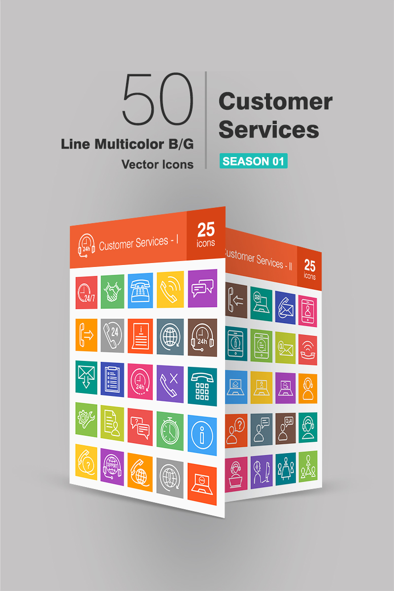 50 Customer Services Line Multicolor B/G Iconset Template - screenshot
