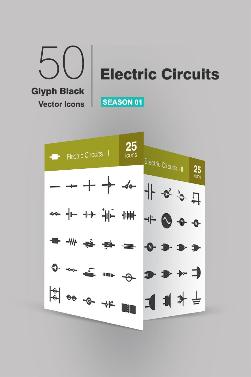 50 Electric Circuits Glyph Iconset Template - screenshot