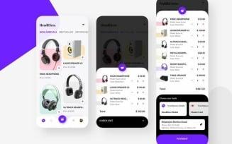 HeadEless Shoping Mobile UI Sketch Template