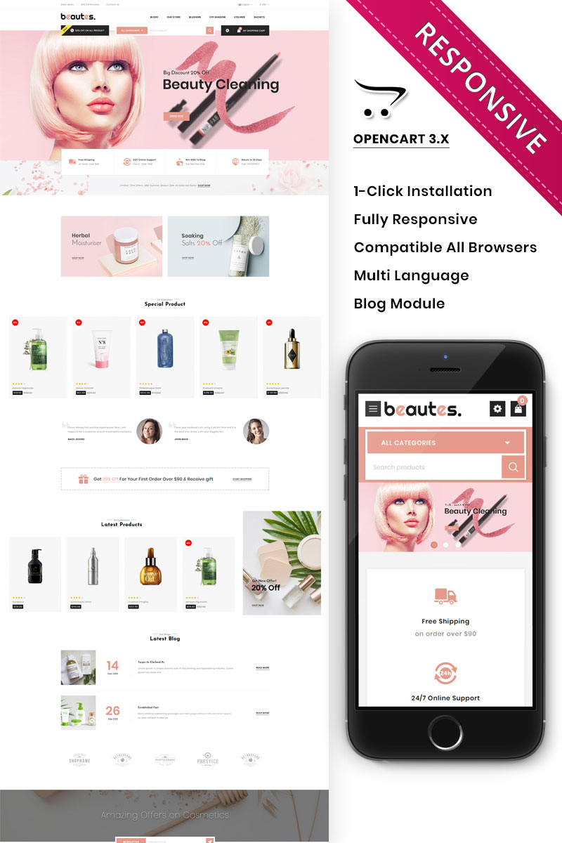 "Modello OpenCart Responsive #92834 ""Beautes - The Mega Cosmetic Store"" - screenshot"