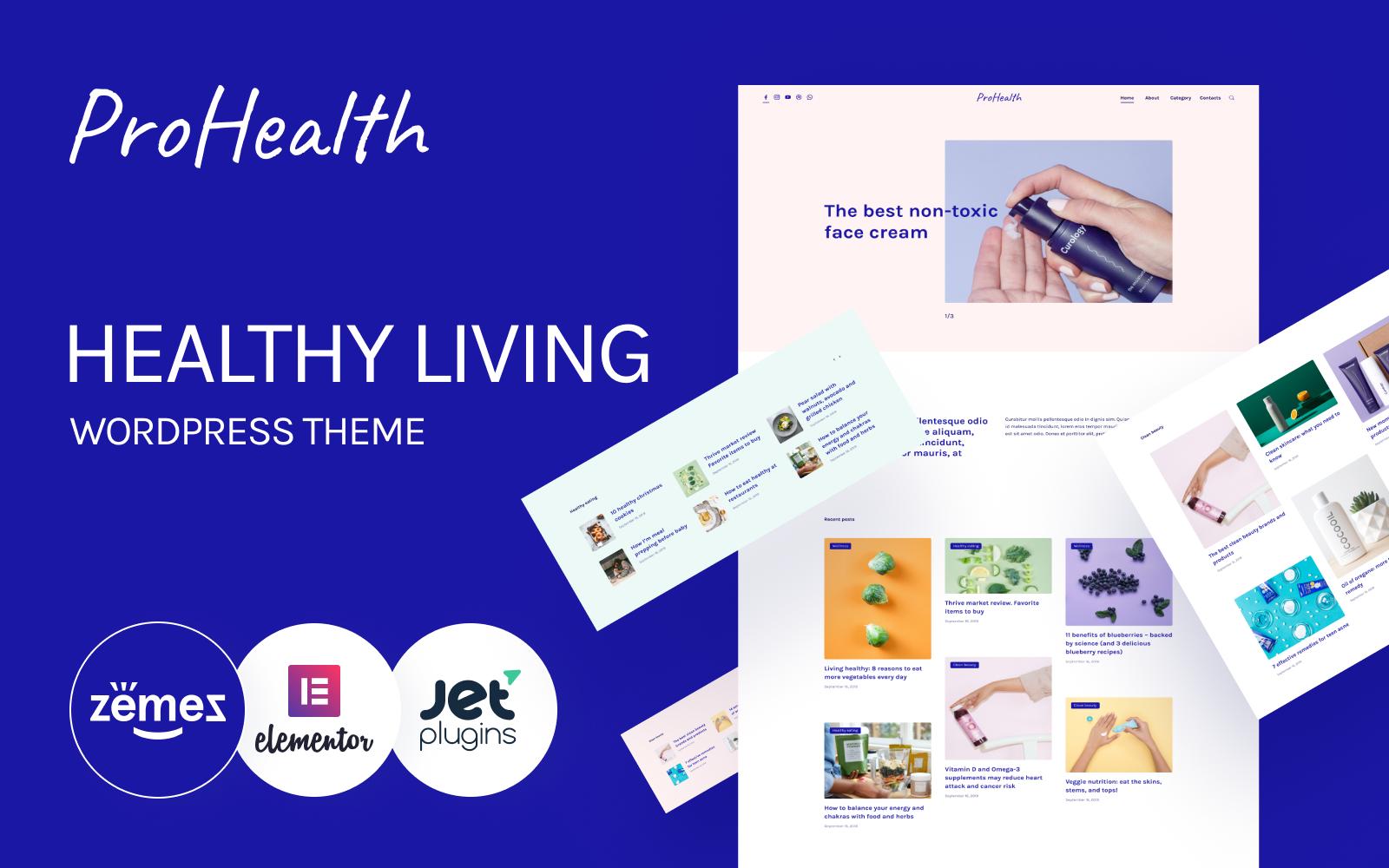 """ProHealth - Neat And Tender Healthy Living"" - адаптивний WordPress шаблон №92869"
