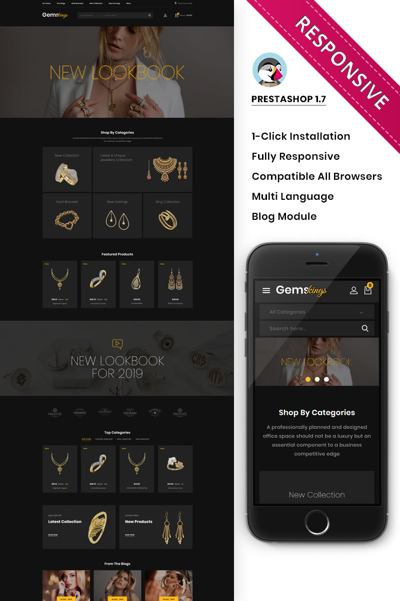 Responsive Gemskings - The Jewelry Store Responsive Prestashop #92835
