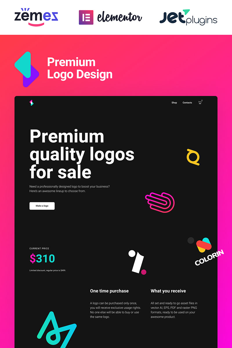 Responsivt Logoster - Creative And Modern Logo Design Shop WooCommerce-tema #92870 - skärmbild
