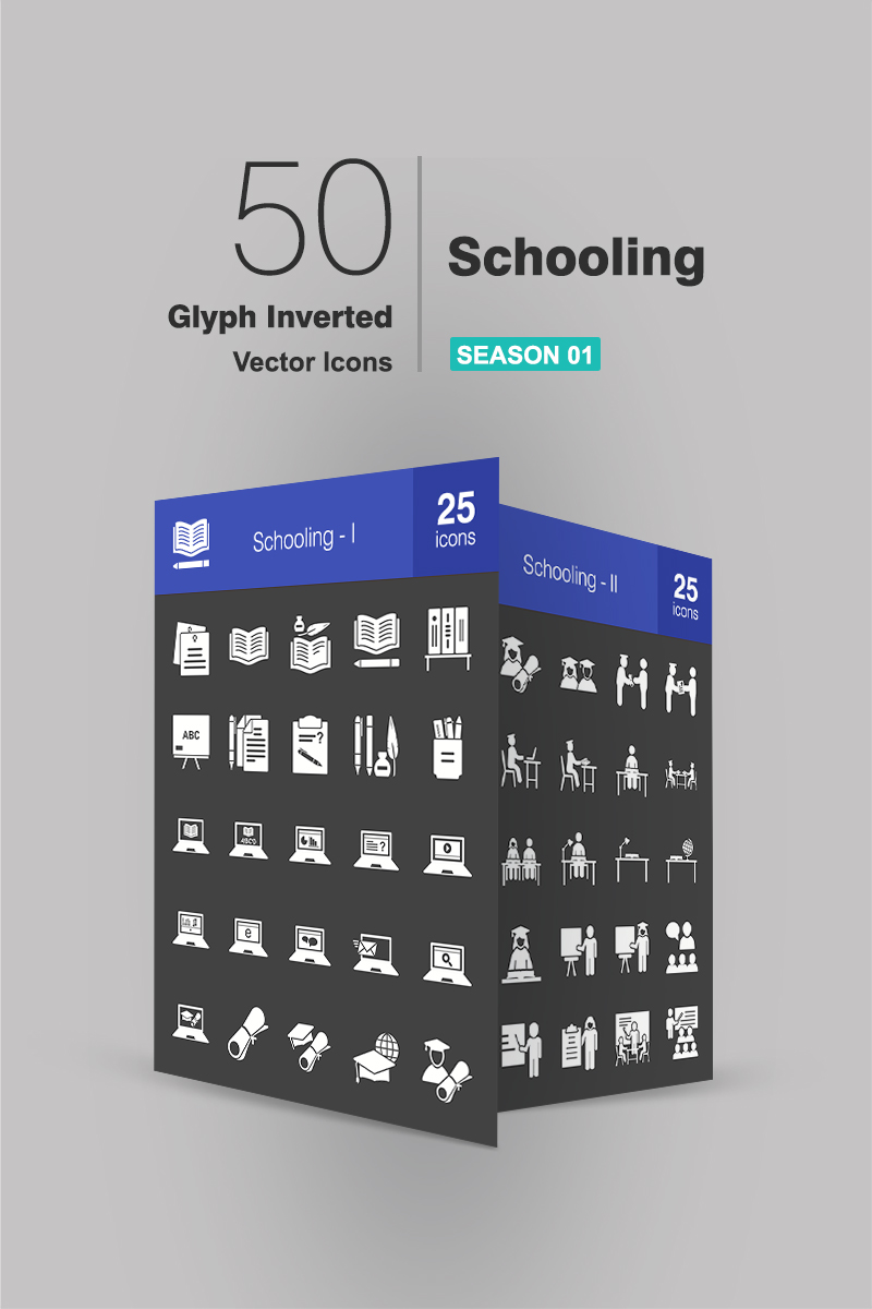 50 Schooling Glyph Inverted Iconset Template - screenshot