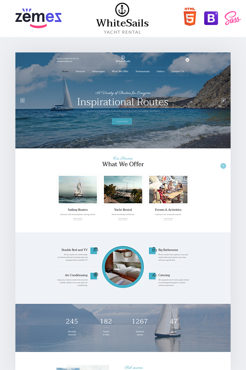 "Tema di Landing Page Responsive #92868 ""WhiteSails - Yacht Rental Clean HTML"""