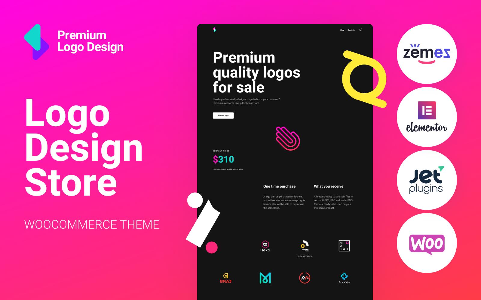 "Tema WooCommerce ""Logoster - Creative And Modern Logo Design Shop"" #92870"