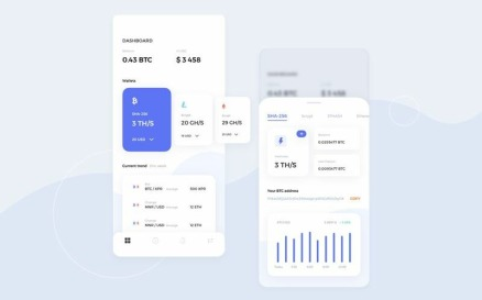 Mining cryptocurrency UI Kit Sketch Template