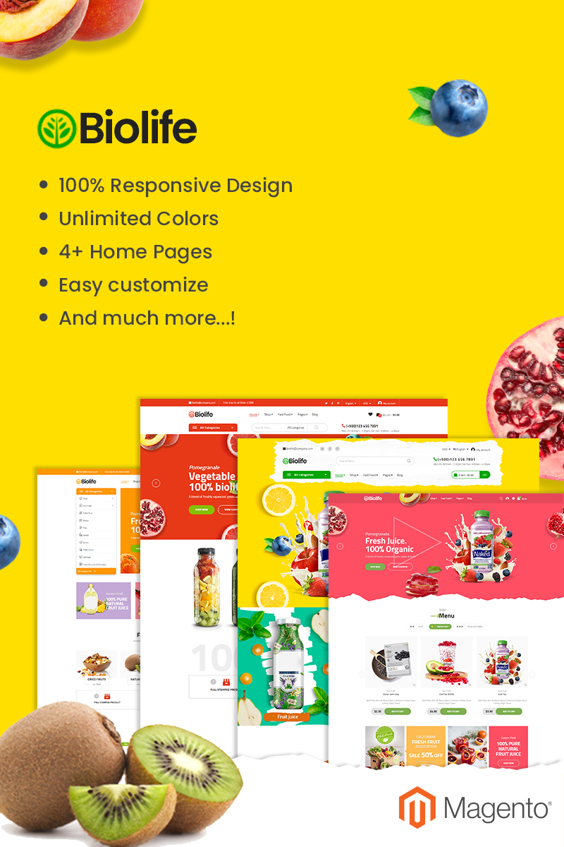 """""""Biolife - Fully Responsive and RTL supported"""" thème Magento adaptatif #92927"""