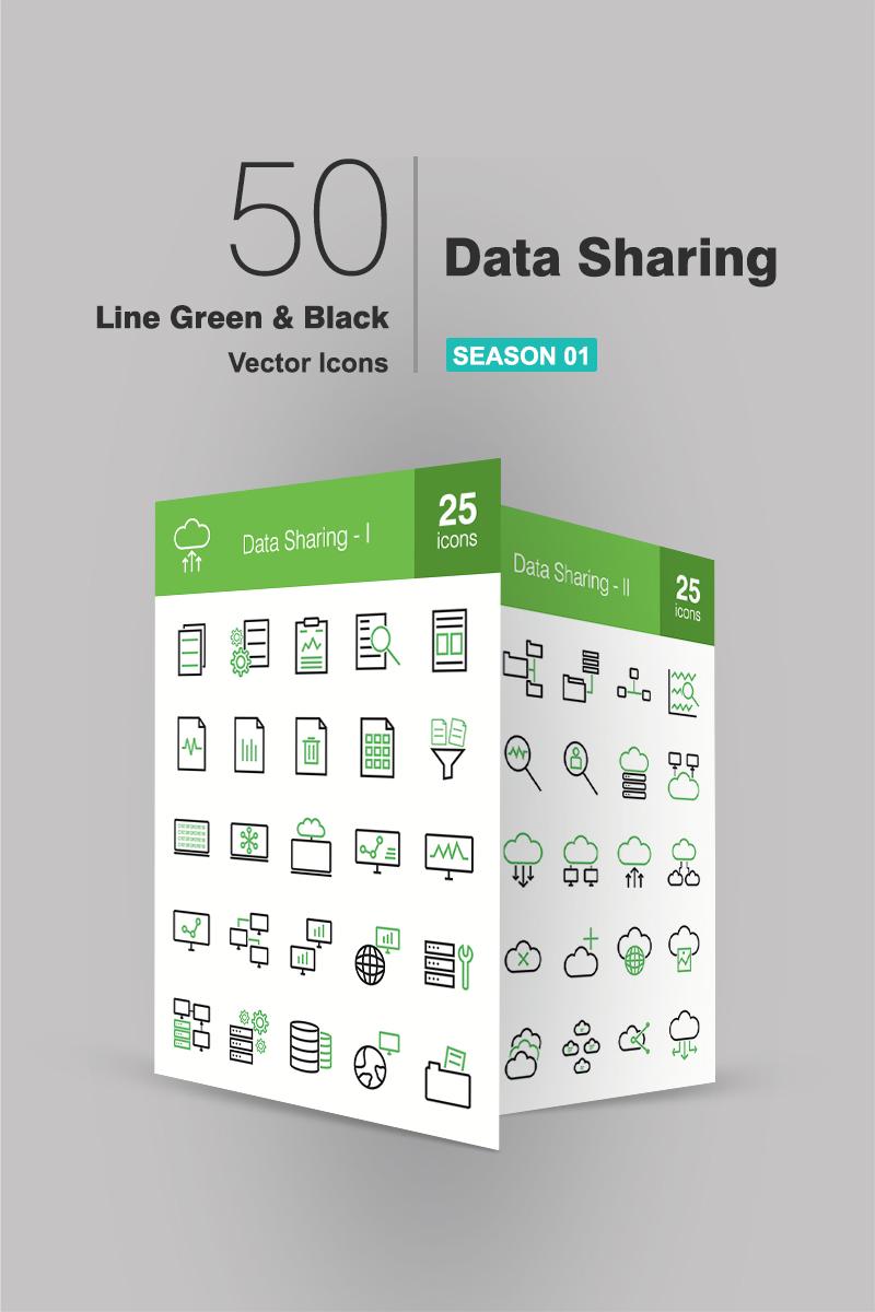 50 Data Sharing Line Green & Black Iconset Template - screenshot