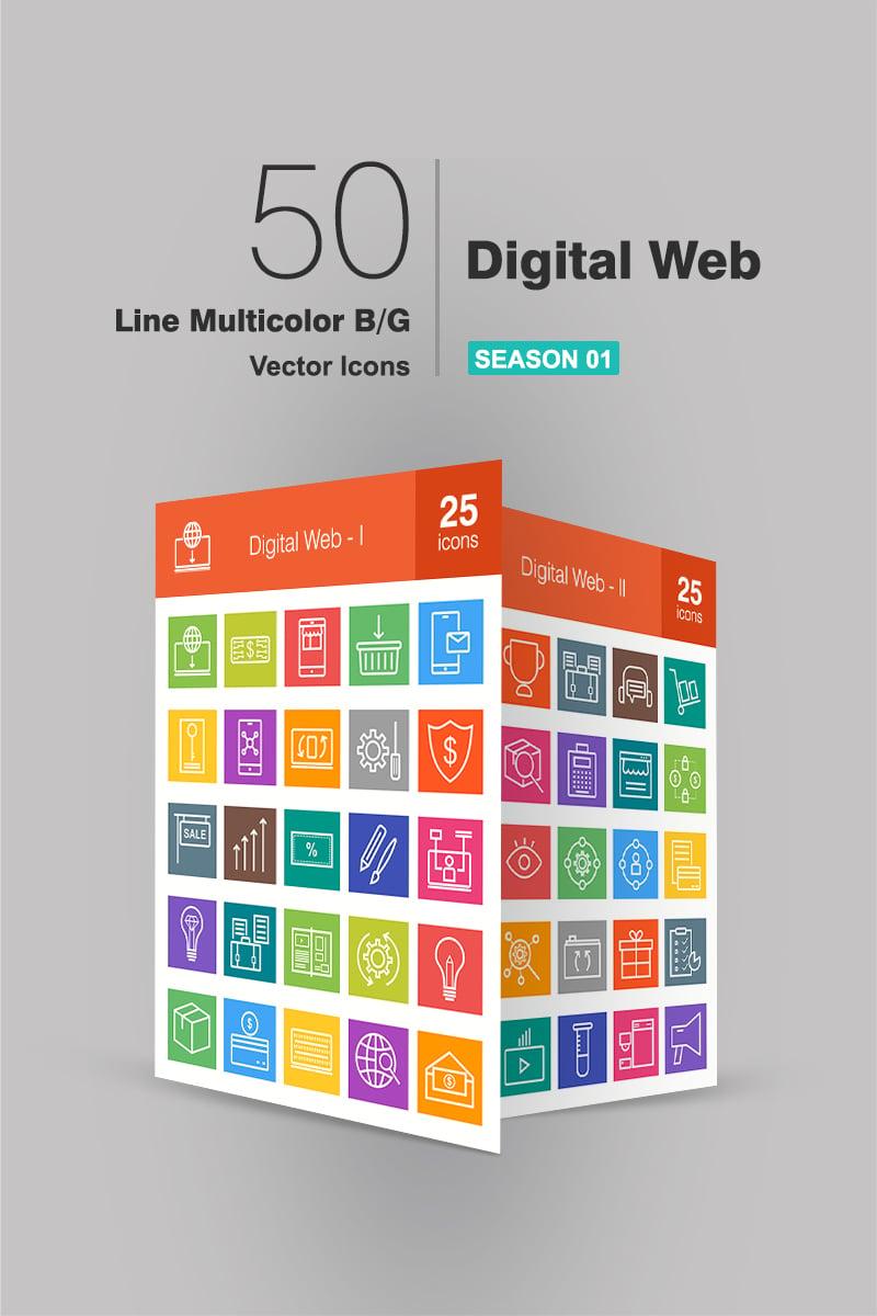 50 Digital Web Line Multicolor B/G Iconset Template - screenshot