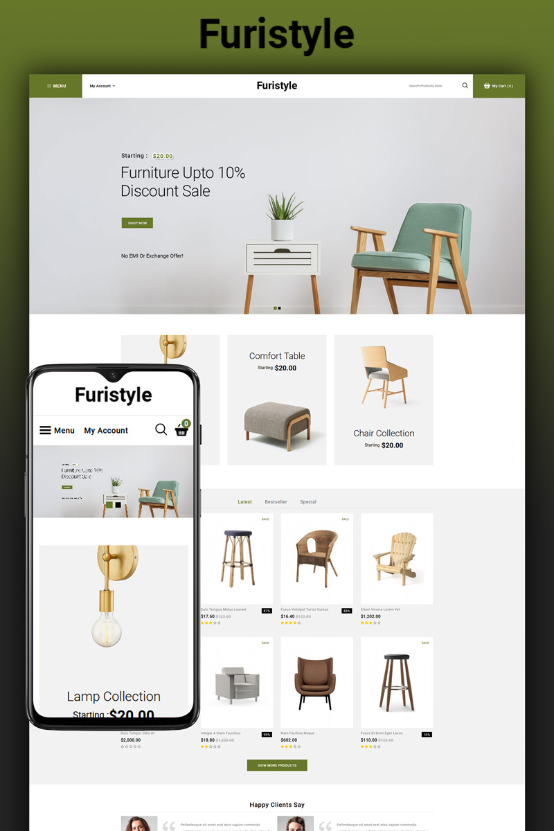 """Furistyle - Furniture Store"" Responsive OpenCart Template №92911 - screenshot"