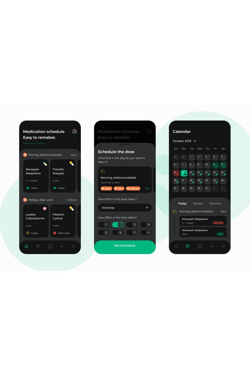 Heaple Darkmode - Medical Mobile App UI Template de Ilustração №92982 - captura de tela