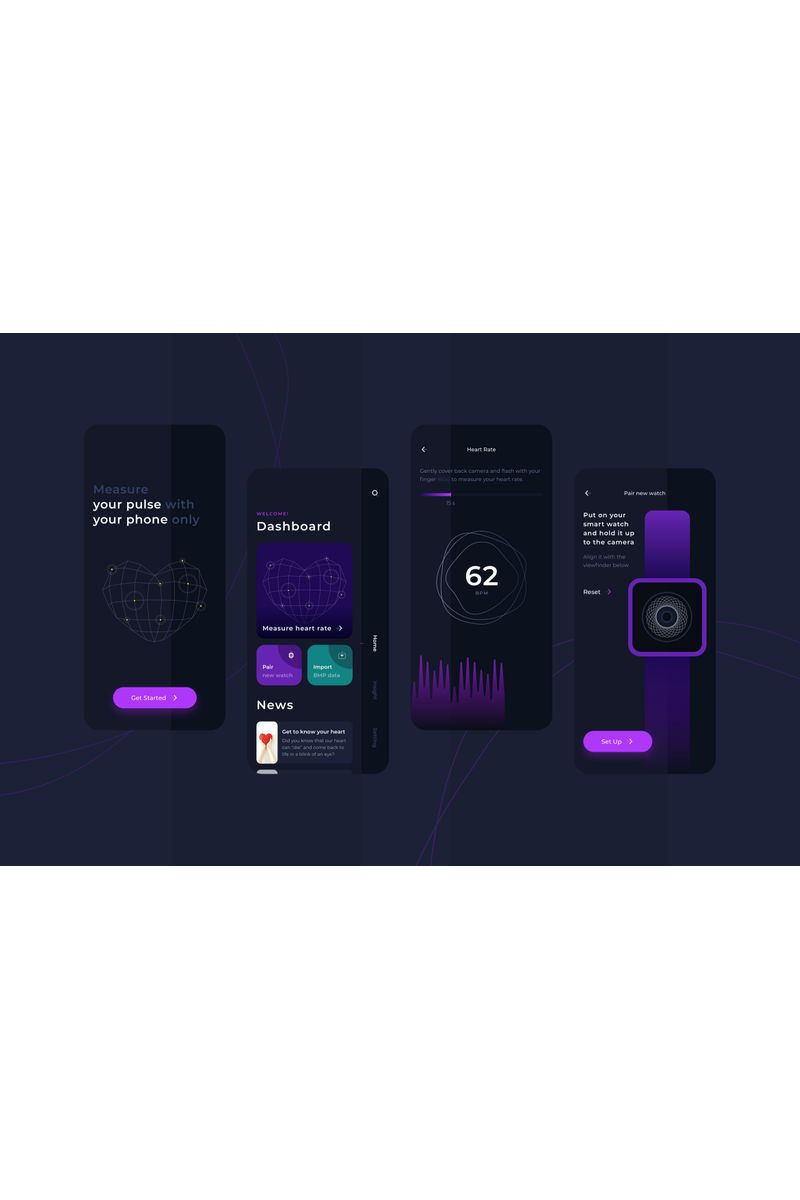 Heart Rate Measurement Dark Mode UI Eskiz #92981 - Ekran resmi