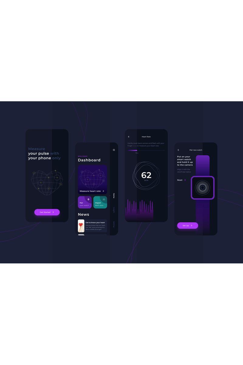 """Heart Rate Measurement Dark Mode UI"" modèle Sketch  #92981 - screenshot"
