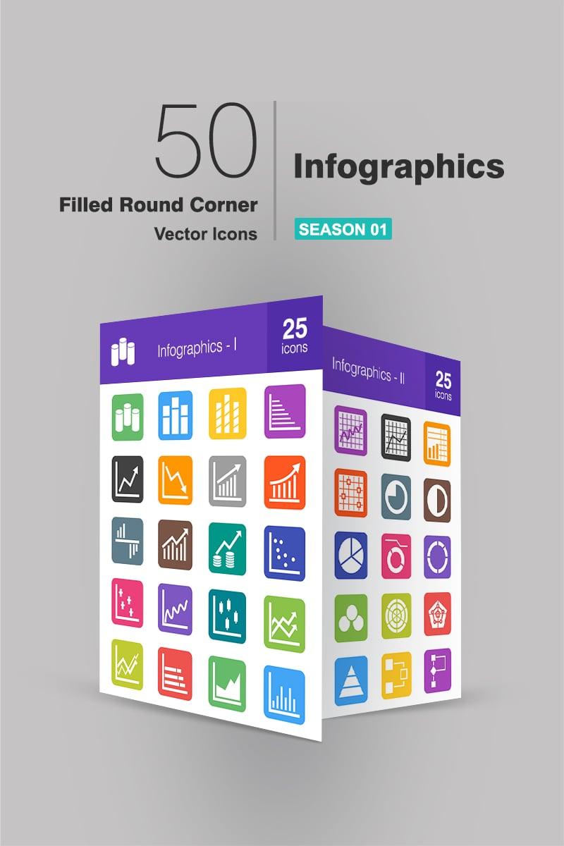 40 Infographics Filled Round Corner Iconset Template - screenshot