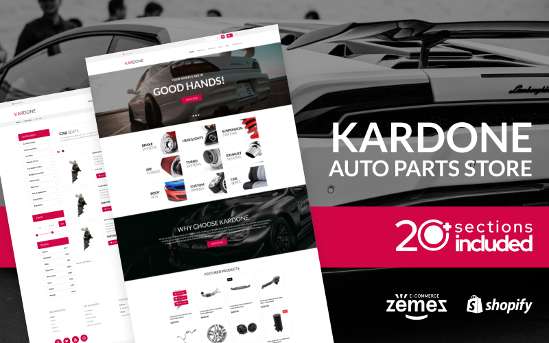 """Kardone Auto Parts Store Template"" - адаптивний Shopify шаблон №92968"